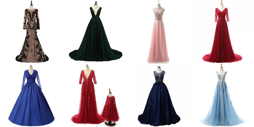SEYY01 Real Photos Sexy Skirt with Slit Soft Tulle V Neck Beaded Girls Party Dresses Prom Evening Dress with Slit 2017
