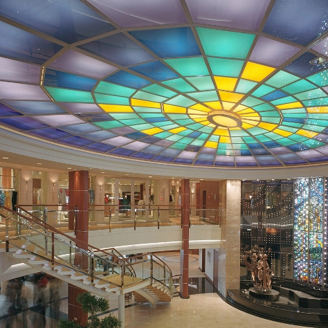 China stained safety laminated glass skylight