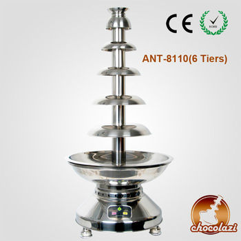 CHOCOLAZI ANT-8110 6 Layers 304# Stainless Steel Auger-type Chocolate Fountain for Commercial use in China