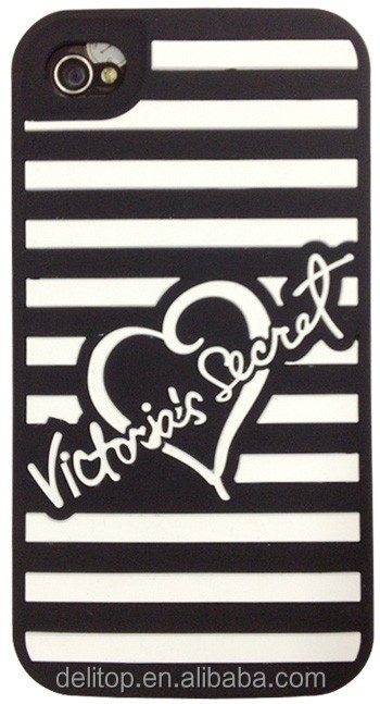 Victorias Secret Luxe Soft rubber Stripe silicone Case Cover for Apple iPhone 4/4S