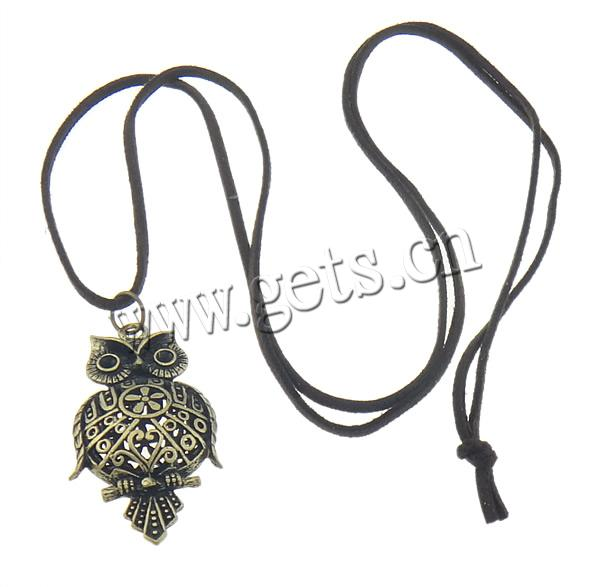 27x54x15mm Owl Zinc Alloy Wool Cord Necklace