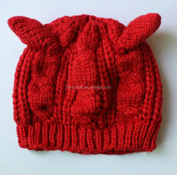 2015 wool beret twist winter hat cat with ear cap Knitted warm hat