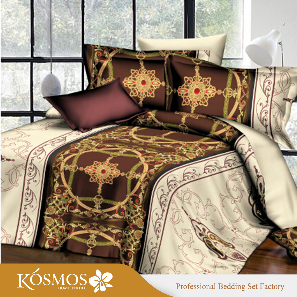 4pcs printing gold Bed sheet sets microfiber bed clothes