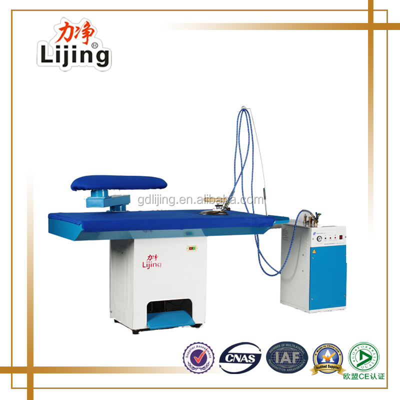 Clothes vacuum ironing table with handheld steam iron
