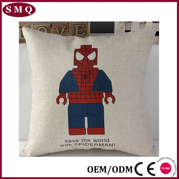 Movie Cartoon Spiderman Cushion covers linen printing cushion covers