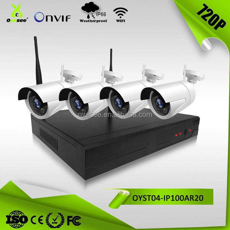 4ch 720P plug and play WiFi NVR waterproof home security camera system wireless 200m long distance wireless range
