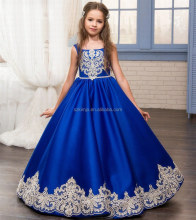 2018 Royal Blue Lace Applique Sleeveless Satin Flower Girl Dress for Weddings