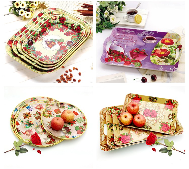 With Handles Plastic Custom Melamine Serving Tray