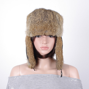 Women winter rabbit fur earflap military ushanka russian trooper hat winter fur hat KZ150127