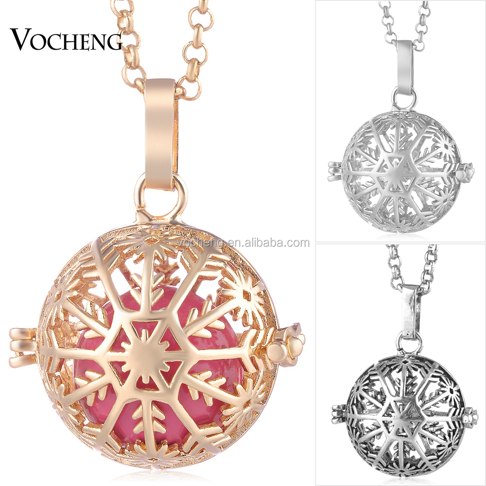 Vocheng Ball Harmony Necklace Snowflake Pendant Christmas Gift 3 Colors Copper with Stainless Steel Chain