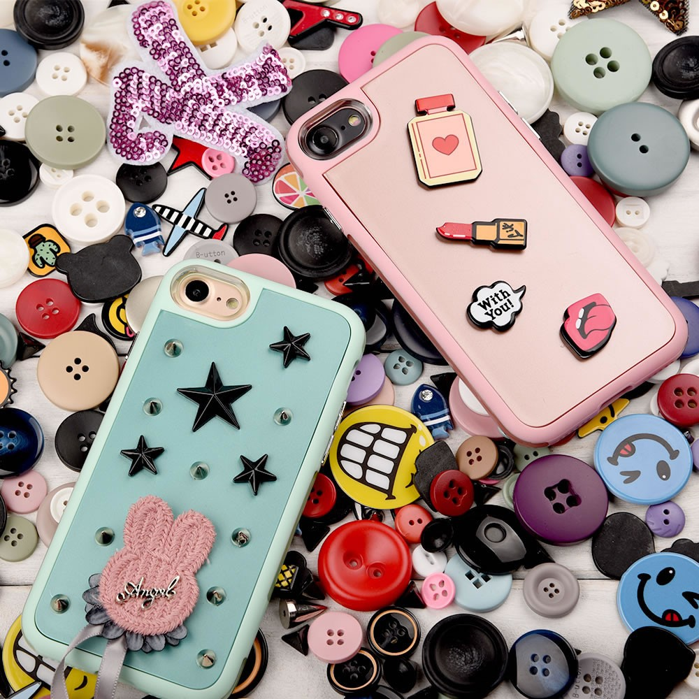 C&T 3D Adhesive Button Stickers TPU and PC Case for iPhone 7 4.7""