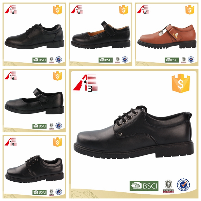 low price new design wholesale pu leather black school shoes for child , boy girl student kid chilren school shoe