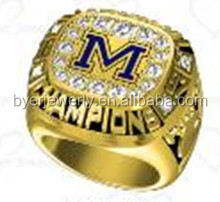 Fashion style 1997 michigan championship ring replica ring with hand setting stone