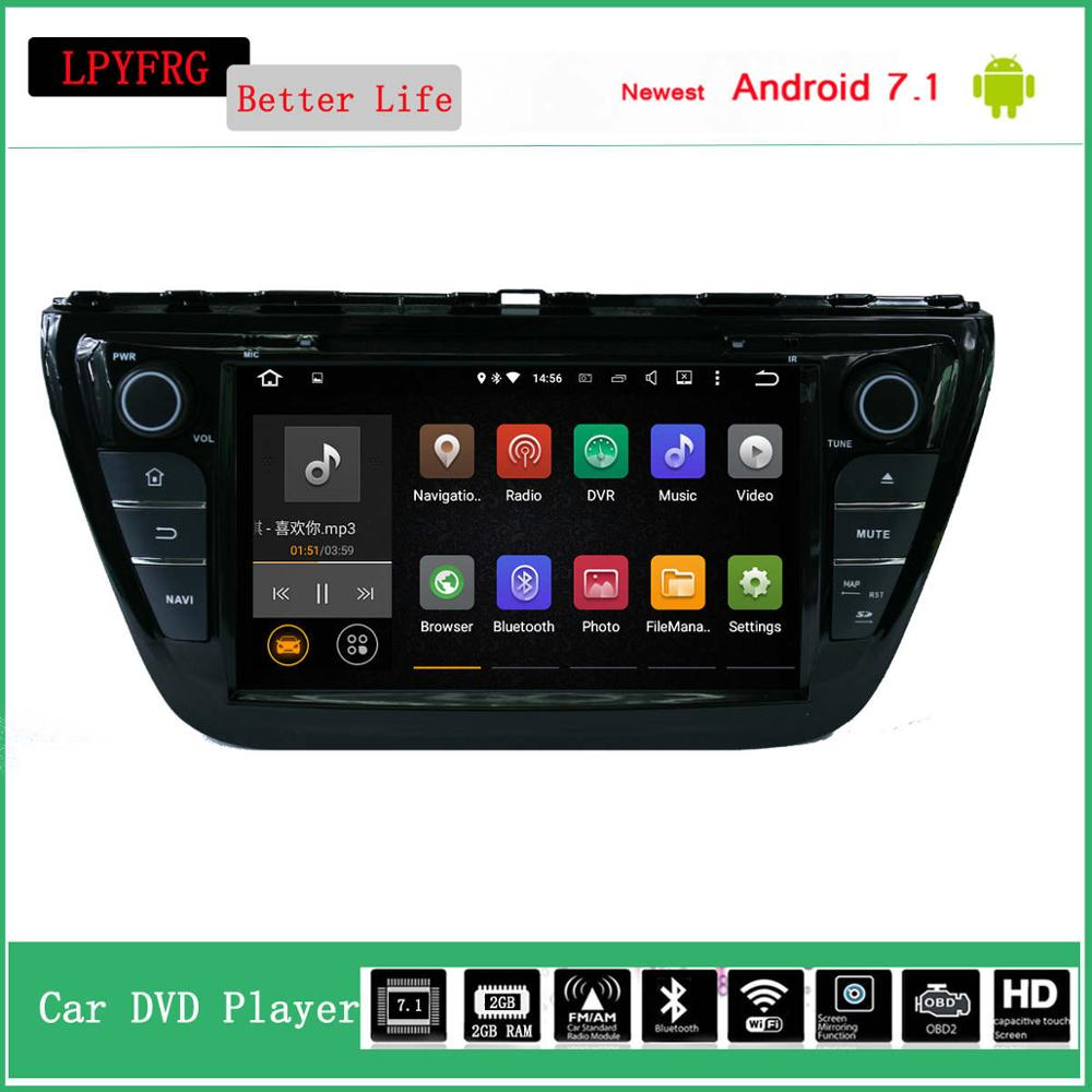 8'' touch screen car dvd multimedia player for suzuki sx4 s cross 2015 1/2g ram 16 rom accessories mirror dab+ rds android 7.1