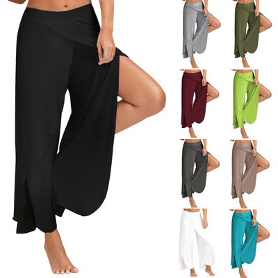 Women's pants loose pantsComfortable Breathable Solid Color Flounce Yoga pants Split Wide-legged pants(18407)