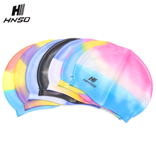 Fashion colorful print custom silicone waterproof ear protected adult swim caps