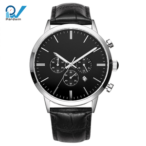 Mens wrist watches custom logo stainless steel genuine leather strap japanese quartz chronograph movement