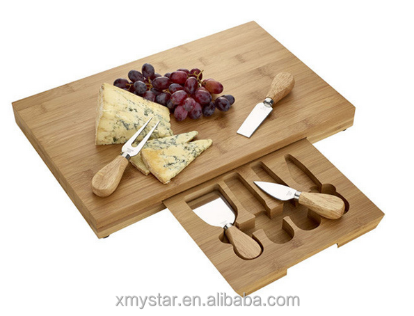 Perfect bamboo cheese board with tools