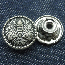 Metal jeans button with embossed bee pattern jacket tack button for garment accessories