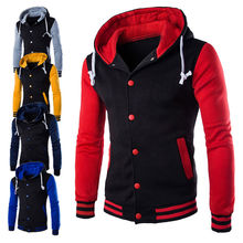New Fashion Mens Hoodie Hooded Cardigan Baseball College Jacket Coat Sweatshirt