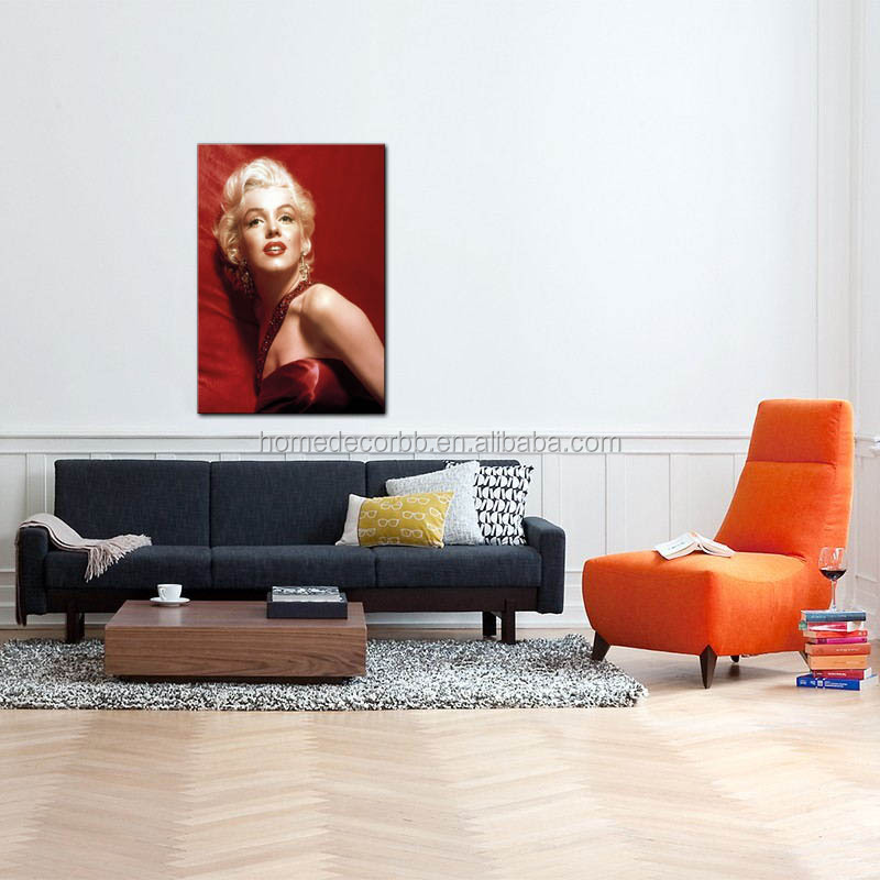 latest marilyn monroe pop art painting lady portrait in red canvas printing stretched giclee wall artwork for living room decor