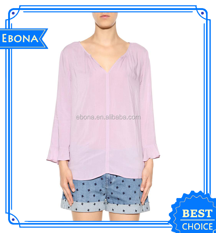 Hot Ladies Different Style Of Blouses Western Women Rayon Polyester Cotton Casual Shirts