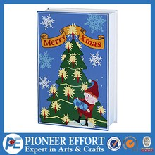 Wooden blue book christmas advent calendar with 24 drawers