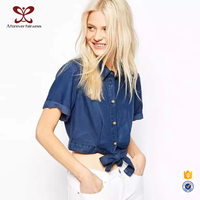 Days Silk Cotton With Denim Shirts With Short Sleeves Smart Casual Ladies Blouse Shirt,Korea Fashion Blouse