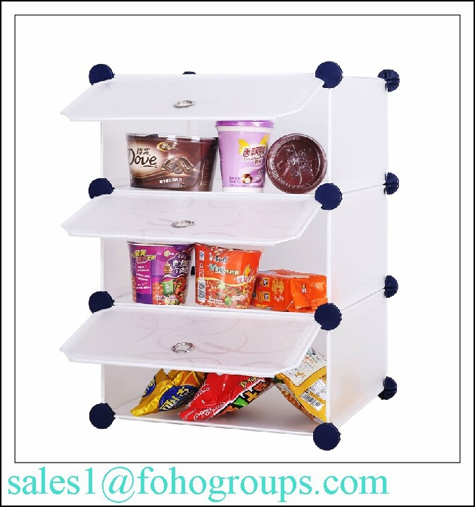 plastic clearance white kitchen modular shelving systems FH-AL0904-3