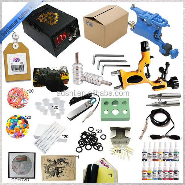 Rotary tatto machine tattoo kit for sale, top professional complete tattooing kits