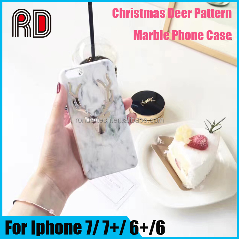 Korean fashion Cute Cartoon Siliver Deer phone case for iphone 6s marble case PC cover for iphone 6