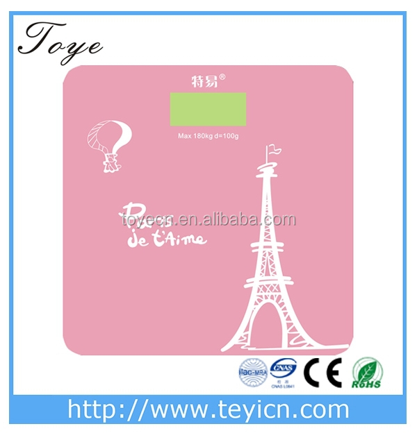 Toye electronic body bathroom scale tempered glass with Eiffel Tower pattern