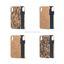 4 Cork Pattren Design PC Mobile Phone Case for iphone 8,hand made wood leather case