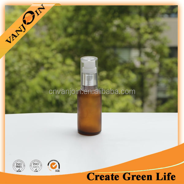 1oz Frosted Amber Glass Liquid Soap Pump Bottle