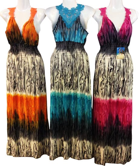 Wholesale Long Lace Back Dresses Tie Dye Colors and 100+ styles in stock