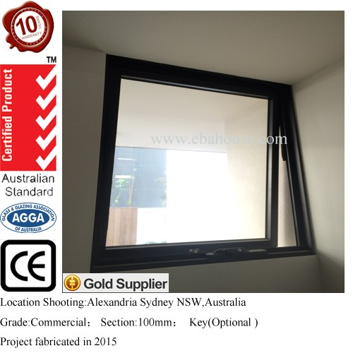 EBA australia awning windows with chain winder top hung window grill design swing window glass with auto electric window switch