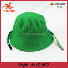 S1462 Hot sale 2016 custom pretty green plain kids bucket hats / blank baseball caps with string wholesale