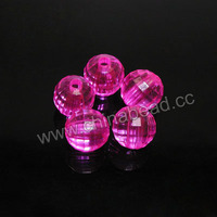 Faceted round 8mm Acrylic Beads Transparent hot pink acrylic beads for jewelry making
