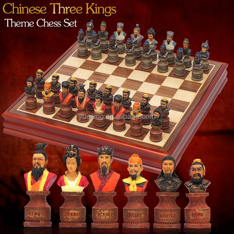 Luxury Theme Resin Chess Set with Rosewood and Maple Wooden Chess Case