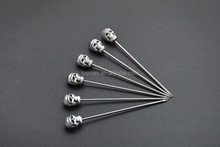Stainless steel Cocktail picks with Zinc-alloy Skull head