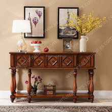 Wood carving furniture, wood entrance table with mahogany