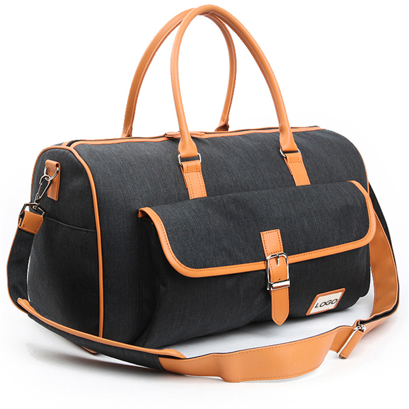 tarpaulin travel duffels bags with leather handle and stripe