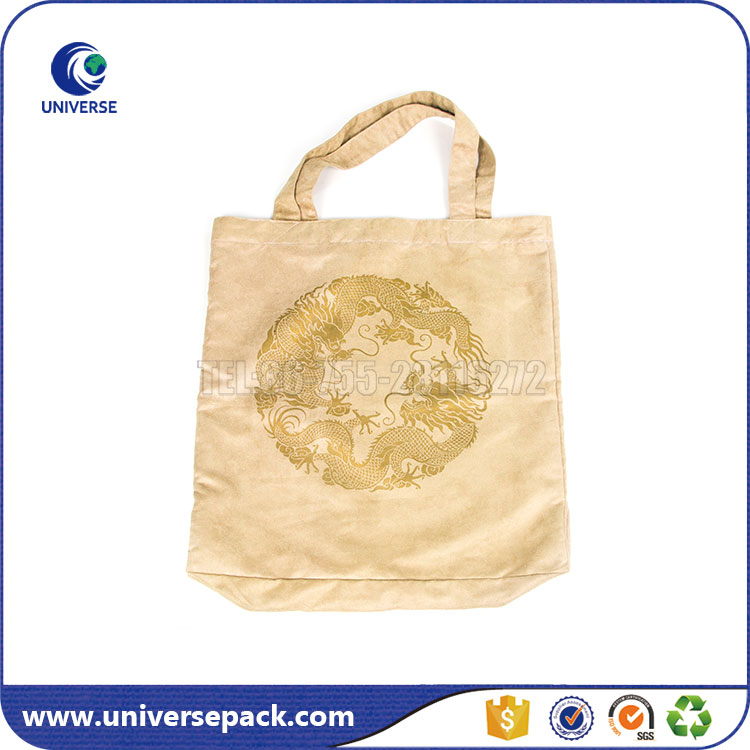 customized stamping faux suede tote bag for shopping