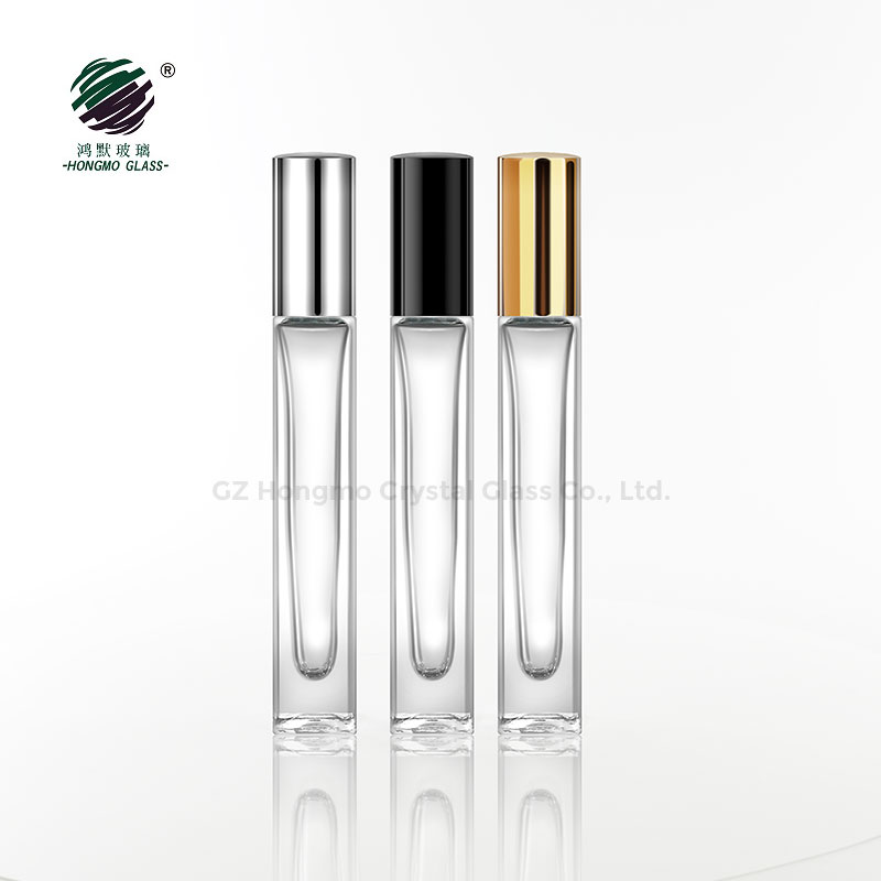 10ml 10 ml thick wall heavy bottom square glass <strong>roll</strong> on perfume bottle with stainless steel ball