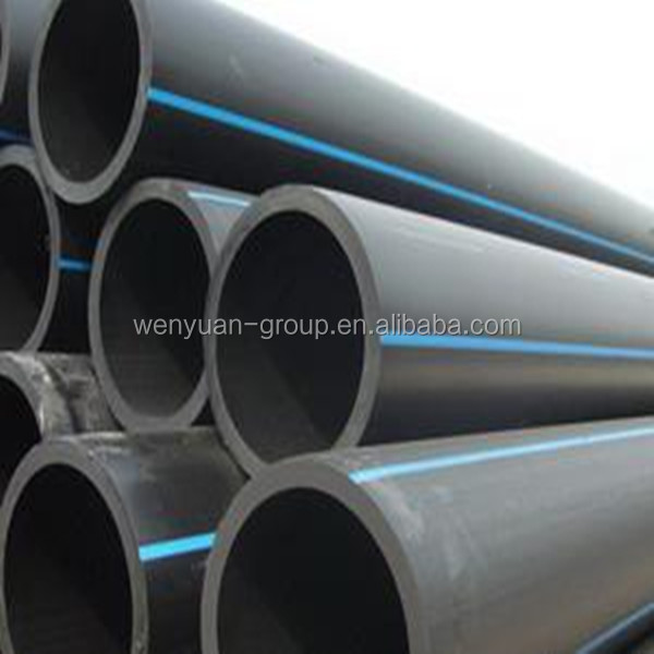 plastic PE100 black underground water supply pipe with blue strip