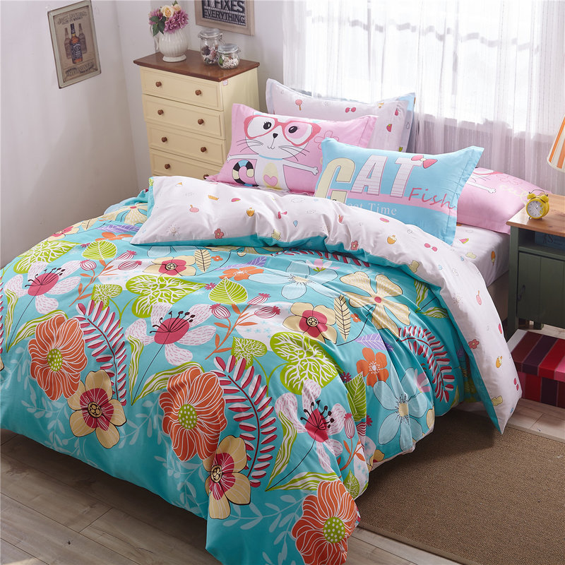 Colorful Flowers and Cat Print 100% Cotton Bedding Set