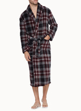 Check Printed Polar fleece microfiber bath robe
