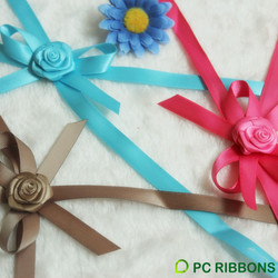 PC Satin gift packaging ribbon and bow with adhesive