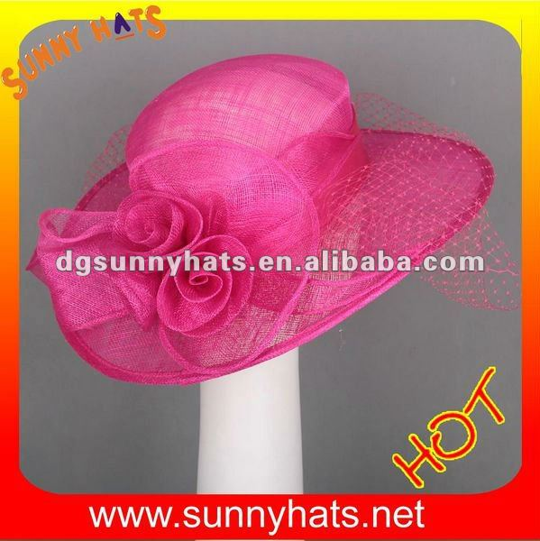 Ladies plain fushia church hats
