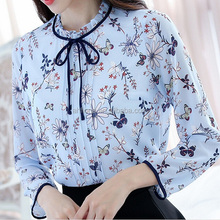 F40879A 2017 Spring korean chiffon print slim lastest women blouses designs